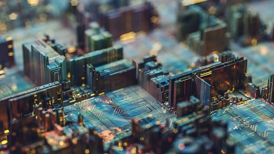 Circuit Board「Futuristic circuit board like city at night」:スマホ壁紙(5)