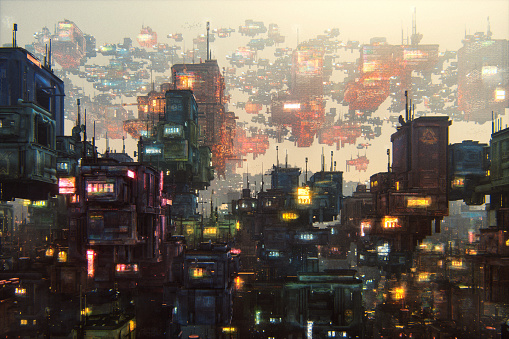 Slum「Futuristic city with large amount of buildings」:スマホ壁紙(5)