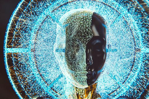 God「Futuristic AI computer network head」:スマホ壁紙(7)