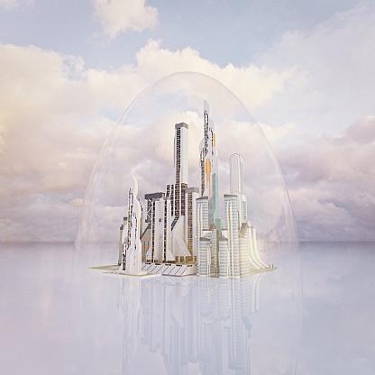 Imagination「Futuristic city protected under transparent dome」:スマホ壁紙(7)