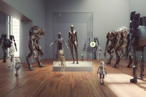 Futuristic alien museum with homo sapiens exhibition:スマホ壁紙(壁紙.com)
