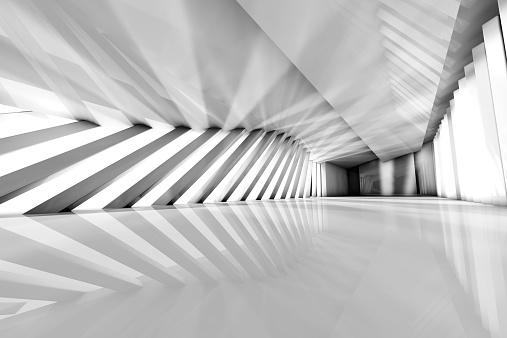 Monochromatic「Futuristic empty room, 3D Rendering」:スマホ壁紙(1)