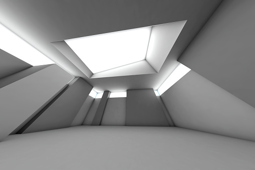 Digitally Generated Image「Futuristic empty room, 3D Rendering」:スマホ壁紙(18)
