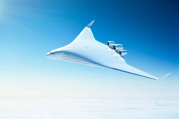 Futuristic passenger airplane with blended wing body design:スマホ壁紙(壁紙.com)