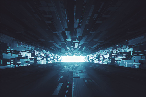 Tunnel「Futuristic dark glowing corridor」:スマホ壁紙(13)