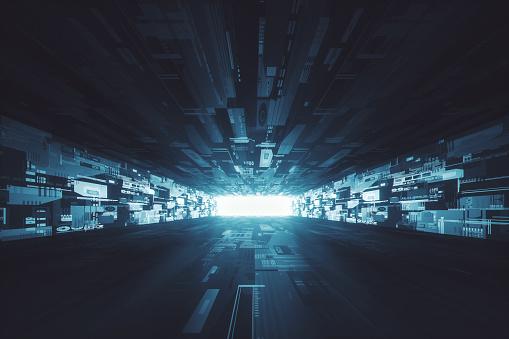 Spacecraft「Futuristic dark glowing corridor」:スマホ壁紙(7)