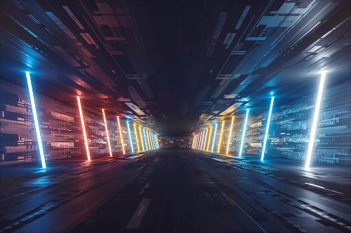 Spacecraft「Futuristic dark glowing corridor」:スマホ壁紙(8)