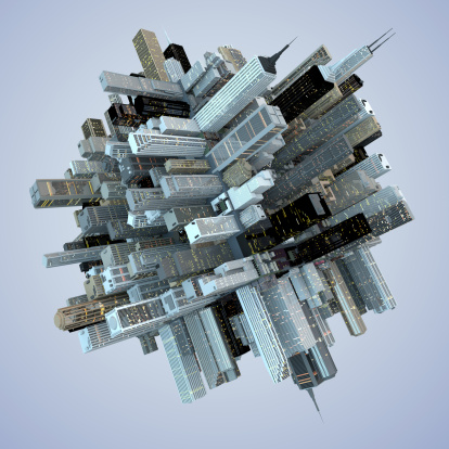 Empire State Building「Futuristic Globe Architecture Skyscrapers City Cube 3D Abstract」:スマホ壁紙(3)