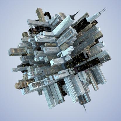 City Life「Futuristic Globe Architecture Skyscrapers City Cube 3D Abstract」:スマホ壁紙(14)