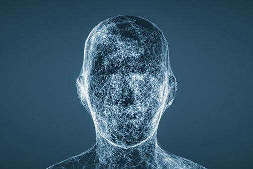 Blank Expression「Futuristic glowing AI head」:スマホ壁紙(13)