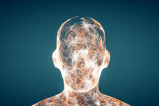 Ugliness「Futuristic glowing AI head」:スマホ壁紙(16)