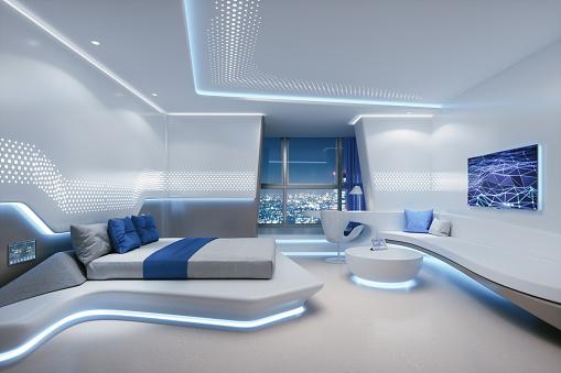 Suites「Futuristic Hotel Room Interior」:スマホ壁紙(11)