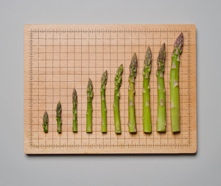 Gray Background「Asparagus shoots forming a graph.」:スマホ壁紙(1)