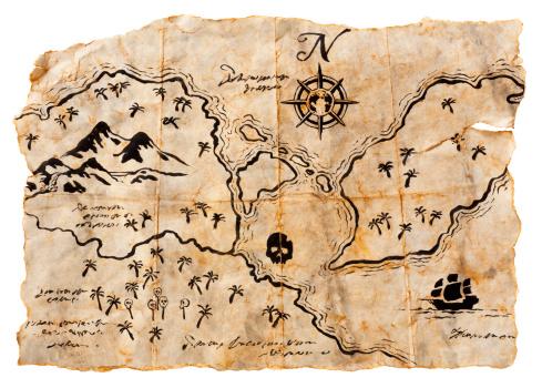 Adventure「Treasure Map Isolated on White. Horizontal, XXXL」:スマホ壁紙(11)