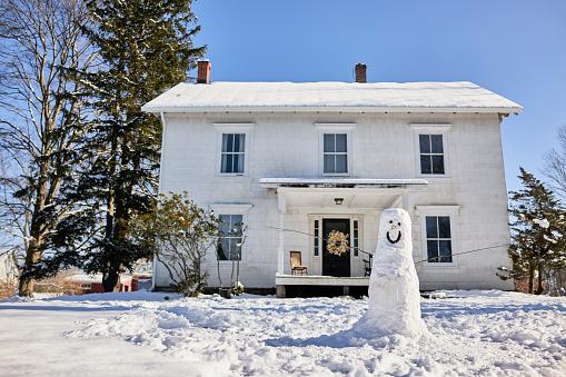 雪だるま「Snowman Outside Home」:スマホ壁紙(17)