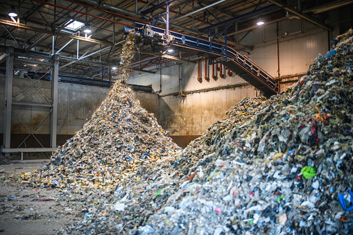 Recycling「Piles of Separated Recyclables Inside Waste Facility」:スマホ壁紙(14)
