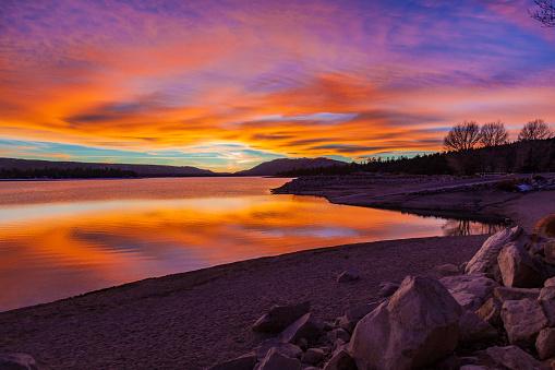 Beauty In Nature「反射と cloudscape、カリフォルニア州ビッグ ・ ベアー ・ レイク ロマンチックな夕日」:スマホ壁紙(13)