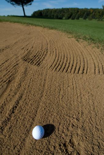 Sand Trap「Golf ball in sand trap on golf course」:スマホ壁紙(3)