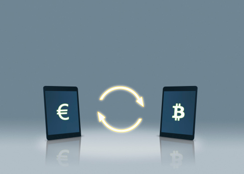 Cryptocurrency「Euro and bitcoin symbols on tablets」:スマホ壁紙(10)