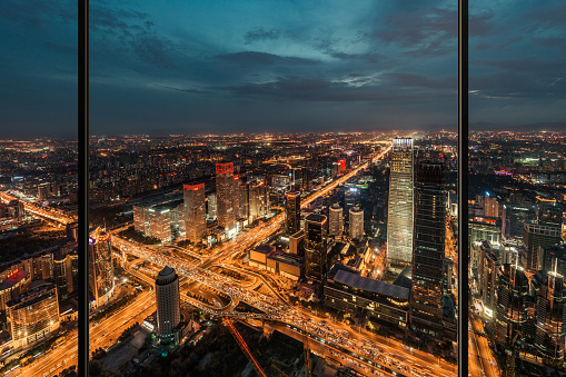 Beijing「Window View of Illuminated Beijing Skyline」:スマホ壁紙(2)
