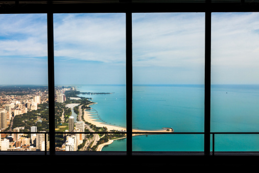 Great Lakes「Window view of lake shore Chicago, USA.」:スマホ壁紙(4)