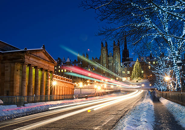 Edinburgh in December Snow:スマホ壁紙(壁紙.com)