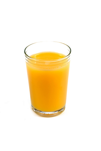 Orange - Fruit「Single glass full of orange juice against white background.」:スマホ壁紙(1)