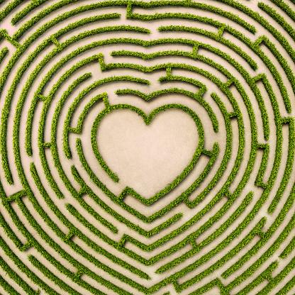 ハート型「Aerial view of heart shape hedge maze」:スマホ壁紙(7)