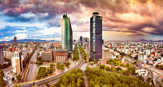 Mexico「Aerial View of Mexico City skyline from Chapultepec Park」:スマホ壁紙(14)