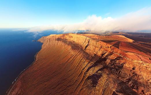 Lava「Aerial view of Mirador del Rio viewpoint, Lanzarote island, Spain」:スマホ壁紙(16)