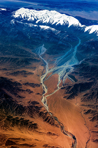 Himalayas「Aerial View of Tibet and Taklamakan Desert in China, Asia」:スマホ壁紙(16)