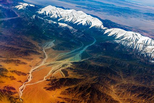 Himalayas「Aerial View of Tibet and Taklamakan Desert in China, Asia」:スマホ壁紙(9)