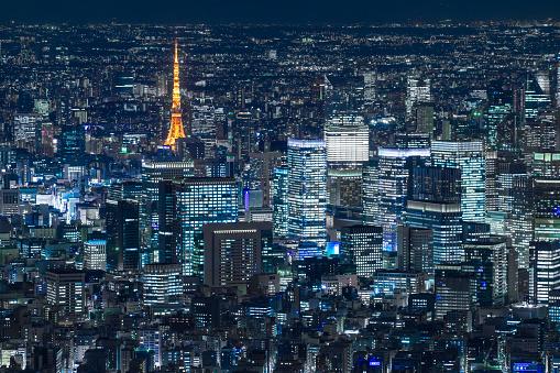 Tokyo Tower「aerial view of Tokyo skyline at  night」:スマホ壁紙(6)