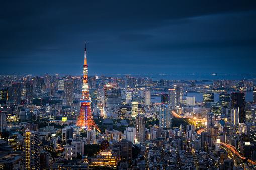 日本文化「夕暮れ時に東京のスカイラインの眺め」:スマホ壁紙(14)