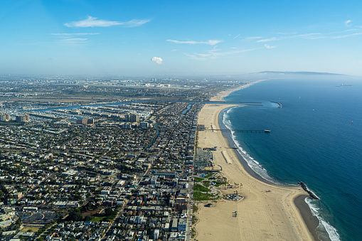 Santa Monica「Aerial View high above Santa Monica and Venice Beach, CA」:スマホ壁紙(3)