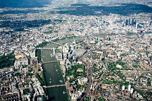 London Bridge - England「Aerial view of London, River Thames, London to Westminster Bridge」:スマホ壁紙(5)
