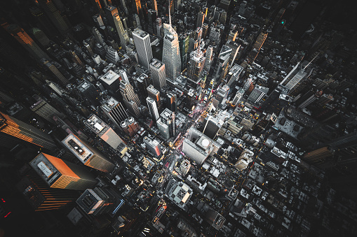Crowded「aerial view of times square at night」:スマホ壁紙(19)