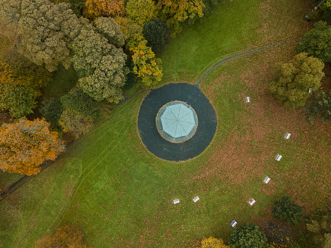 Bandstand「Aerial view of a forest park with a bandstand and tea room」:スマホ壁紙(8)