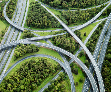 Multiple Lane Highway「Aerial view of highway intersection, Germany」:スマホ壁紙(19)