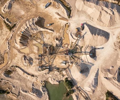 Gravel「Aerial view of crushed stone quarry machine」:スマホ壁紙(10)