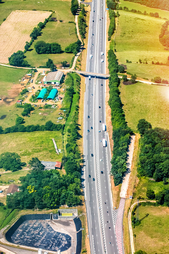 Ain - France「Aerial view of French highway road crossing lush foliage countryside in summer season」:スマホ壁紙(16)