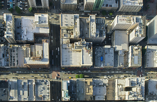 City Street「Aerial view of city, Los Angeles, California, United States」:スマホ壁紙(17)