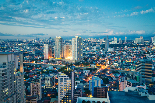 Philippines「Aerial view at Twilight of Makati business district, Manila, Philippines」:スマホ壁紙(7)