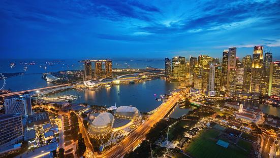 Singapore「Aerial View Singapore Marina Bay at Dusk」:スマホ壁紙(19)