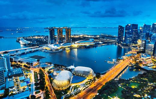 Singapore「Aerial View Singapore, Marina Bay at Dusk」:スマホ壁紙(5)