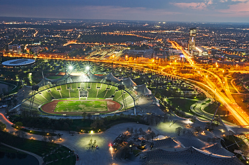 Munich「Aerial view of Munich's Olympic stadium illuminated at night」:スマホ壁紙(11)