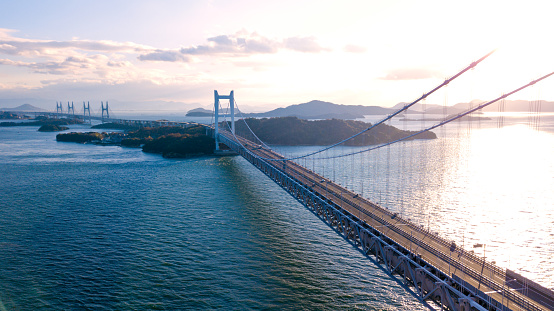 Okayama Prefecture「Aerial view of a sunset over the Great Seto bridge, Japan」:スマホ壁紙(2)