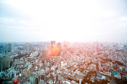 Tokyo - Japan「Aerial view of a sunset over Tokyo cityscape」:スマホ壁紙(13)
