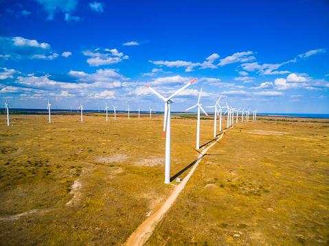 Plowed Field「Aerial view of a wind turbine」:スマホ壁紙(9)
