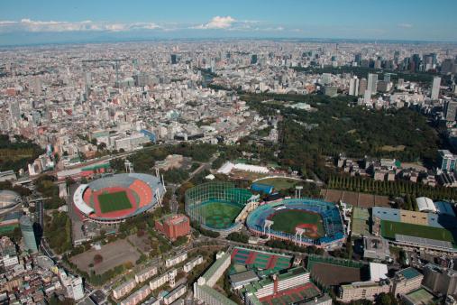 Meiji Jingu Gaien「Aerial View of Jingu &Kokuritsu stadium, Shinjuku ward, Tokyo Prefecture, Honshu, Japan」:スマホ壁紙(0)